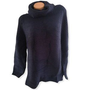 Long Sleeves Turtleneck Knit Pullover Sweater blue  L